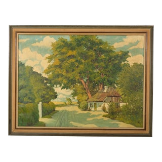 Early 20th-C. Danish Cottage Under a Tree Landscape For Sale