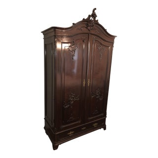French Regency Mahogany Armoire Wardrobe For Sale