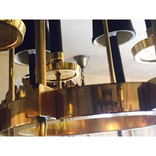 Mid-Century Italian Black & Brass Chandelier - Image 5 of 6