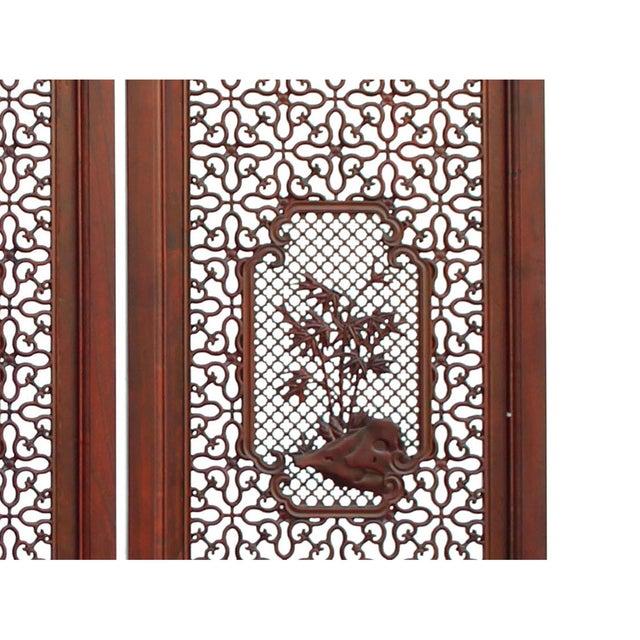 Chinese Reddish Brown Stain 4 Seasons Flower Wood Panel Floor Screen For Sale - Image 4 of 13