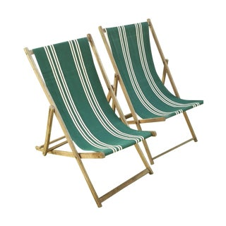 Vintage Wood & Canvas Folding Deck Chairs - A Pair