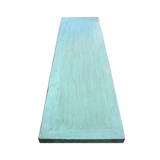 Elm Distressed Teal Blue Wood Pattern Low Console Table Cabinet For Sale - Image 7 of 9