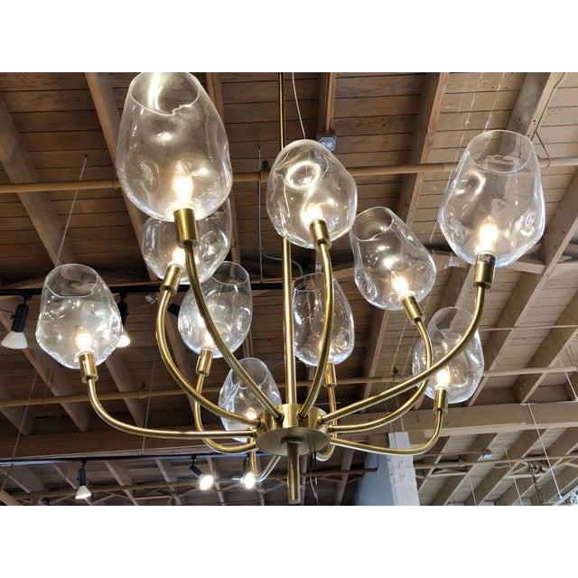 Mid Century Ten Light Chandelier For Sale - Image 4 of 7