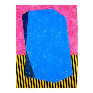 Neon Geometric Abstract Blue & Pink Painting