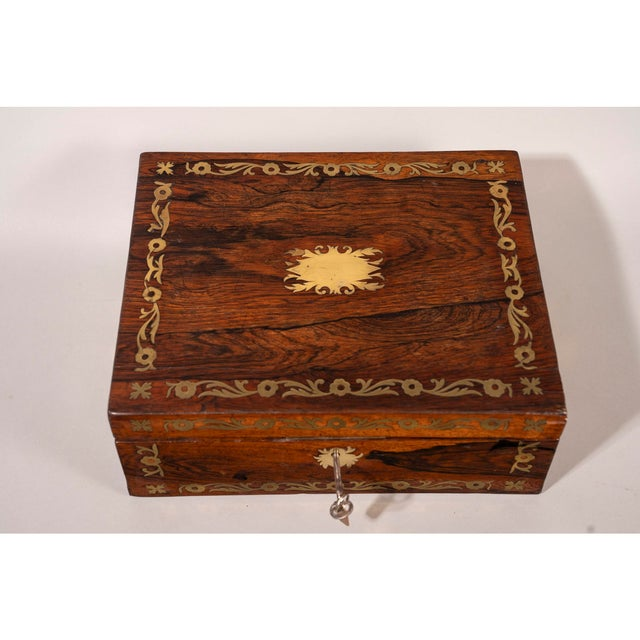 Red Late 19th Century Brass Inlaid Rosewood Lap Desk For Sale - Image 8 of 12