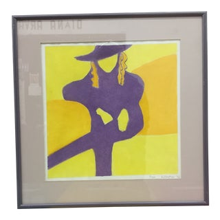 1990s Seated Female Signed & Framed Print For Sale