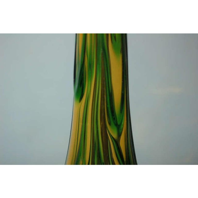 1960s Vintage Murano Glass Table Lamps Gold Green For Sale - Image 5 of 9