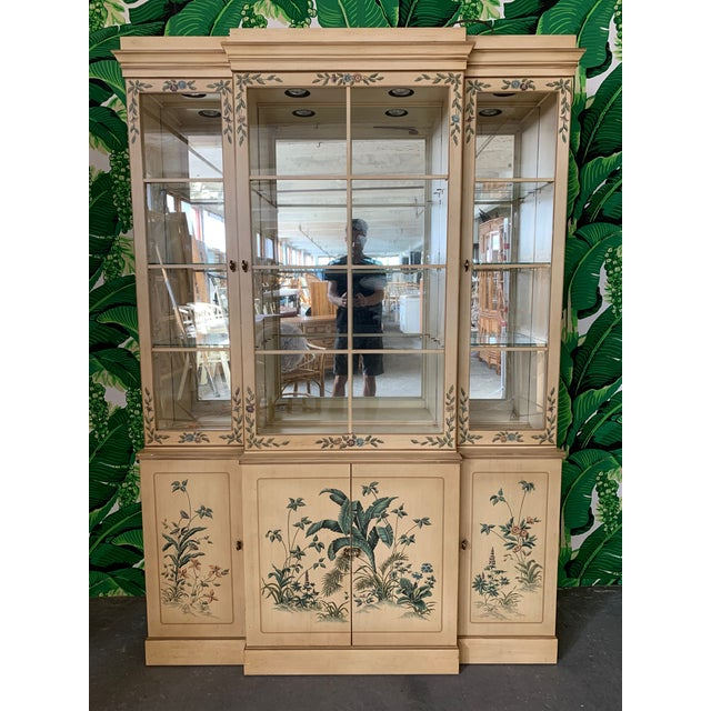 Wood Hand Painted China Cabinet by Drexel For Sale - Image 7 of 7