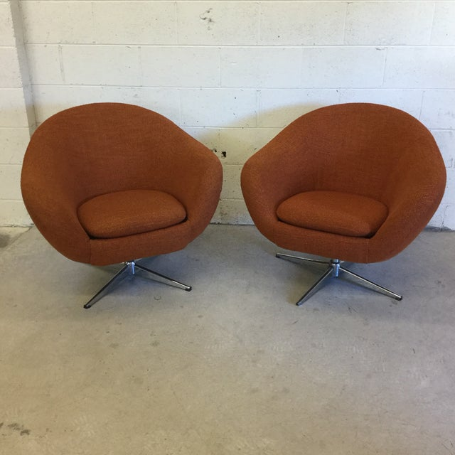 Mid Century Orange Upholster Barrel Swivel Chairs by Burris Industries For Sale - Image 11 of 11