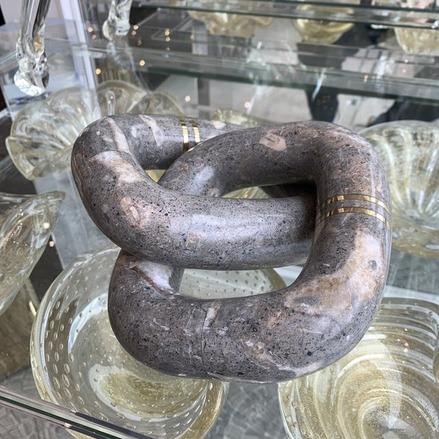 2020s Grey Marble Link Decortive Sculpture Object For Sale - Image 5 of 9