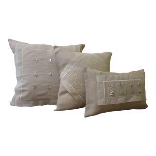 Delicate Linen & Voile Pillows - Set of 3