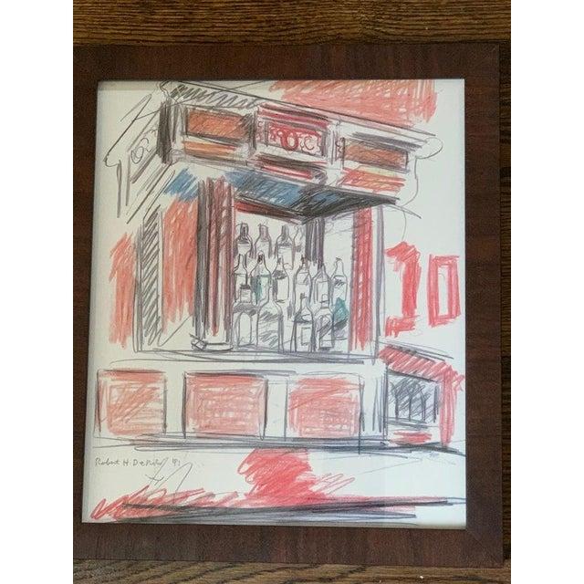 Robert De Niro Sr. Iconic Maxwell Mahogany Bar Sketch For Sale - Image 4 of 7