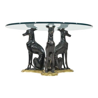 """Maitland-Smith Bronze and Brass """"Whippets"""" Coffee Table For Sale"""