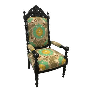 Spanish Revival Style Arm Chair in Manuel Canovas Fabric For Sale