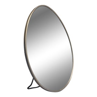 Small Oval Brass Table or Wall Mirror, Italy, 1950s For Sale