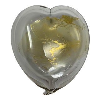 1980s Glass Heart With Gold Leaf For Sale