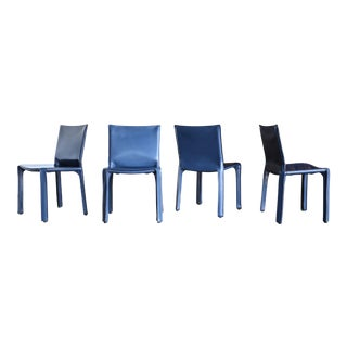 "Mario Bellini Blue Leather ""Cab"" Chairs for Cassina, Circa 1985 - Set of 4 For Sale"