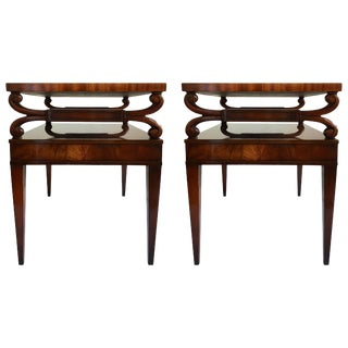 Mid-Century Mahogany Scrolled Leather End Tables by Weiman, Pair For Sale