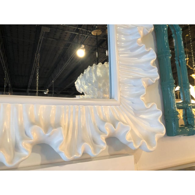 White Vintage Hollywood Regency Lacquered White Ruffle Scalloped Wall Mirror For Sale - Image 8 of 12