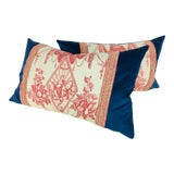 Image of Ralph Lauren French Toile Velvet Pillows - A Pair For Sale