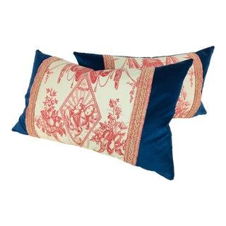 Ralph Lauren French Toile Velvet Pillows - A Pair For Sale