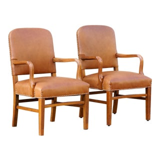 Pair of Gunlocke Leather and Oak Armchairs, 1948 For Sale