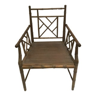 1970s Vintage Faux Bamboo Chippendale Side Chair For Sale