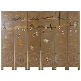 Image of Chinese Export Six-Panel Hardstone Lacquered Fertility Screen For Sale