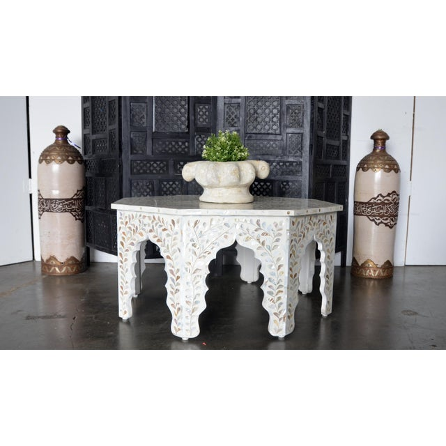 Antique White Moroccan Mother of Pear and White Octagonal Coffee Table For Sale - Image 8 of 10