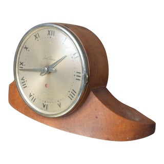 Vintage Seth Thomas Dynaire 2 E Wood Mantel Art Deco Clock 1950s For Sale