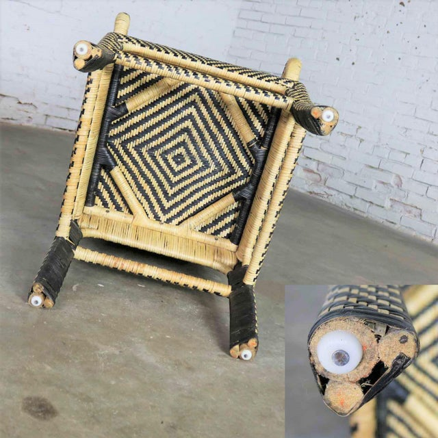 Black Two-Tone Chevron Pattern Rattan Wicker Tall Back Chair With Spiral Arms For Sale - Image 8 of 13