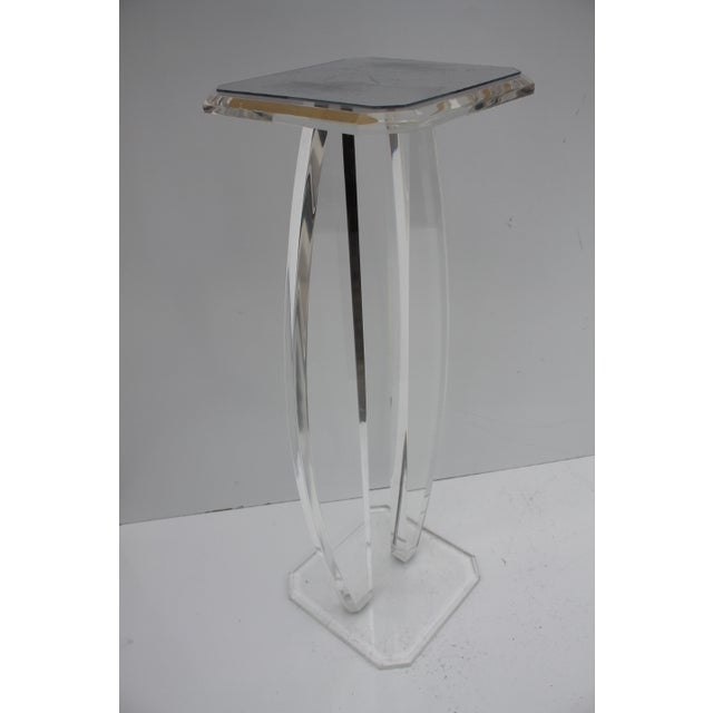 Oval Lucite Vintage Pedestal W/Glass Top Mirror - Image 2 of 9