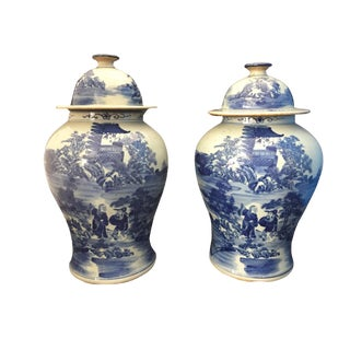 "Blue & White Chinoiserie Ginger Jars - a Pair 15""h For Sale"