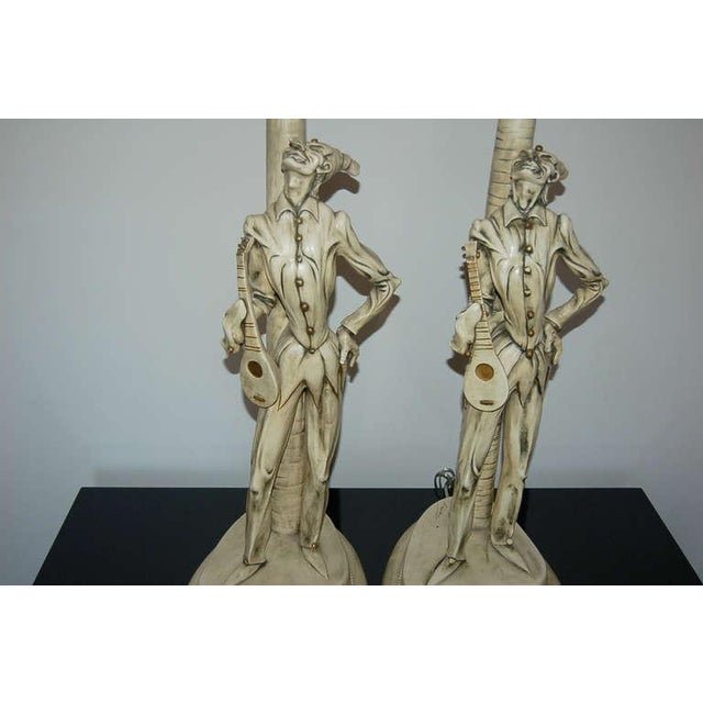 Brass Italian Ceramic Harlequin Table Lamps by Carron For Sale - Image 7 of 10