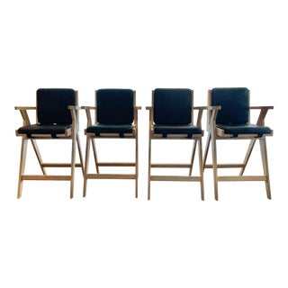 Pierre Jeanneret-Style Counter Height Oak Bar Stools With Black Leather Cushions - Set of 4 For Sale
