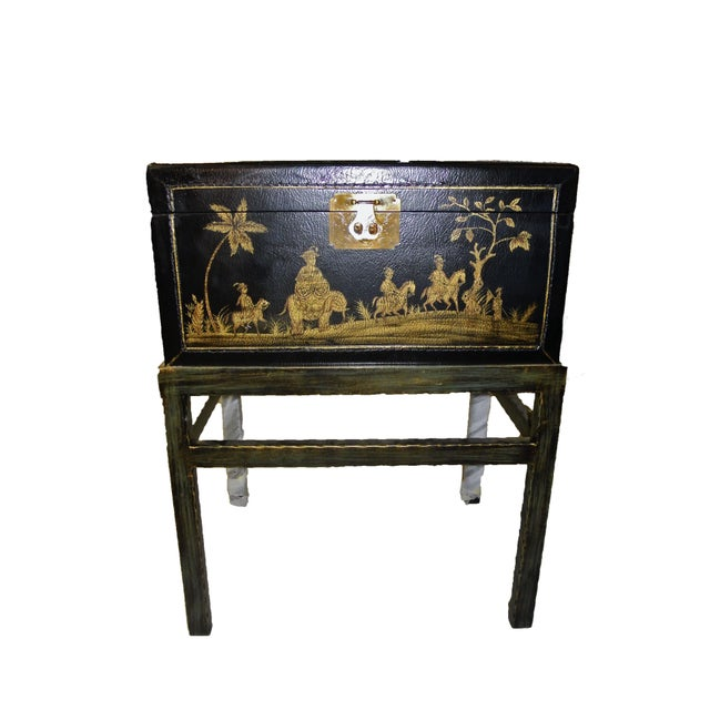 1990s Chinoiserie Chairside Box Side Table For Sale - Image 9 of 9