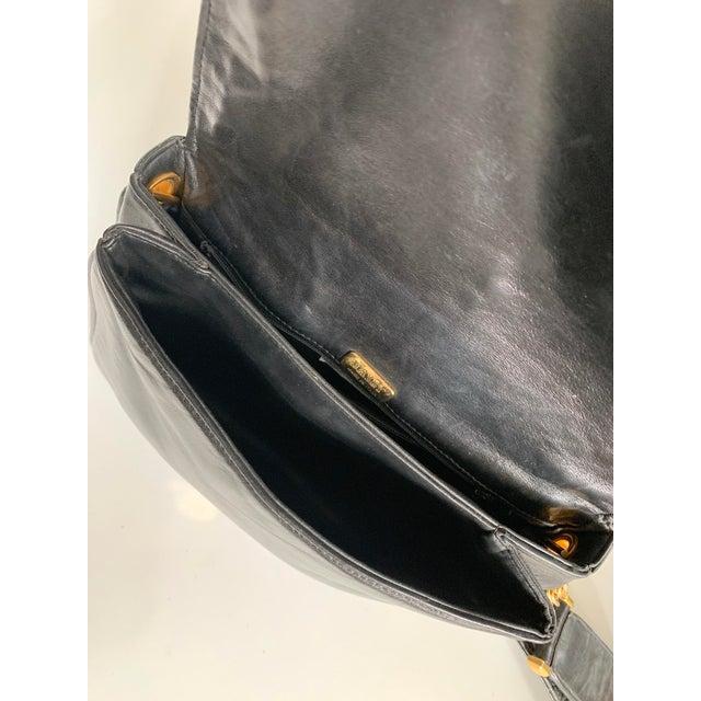 Vintage Bally Handbag Quilted Black Lamb Skin Leather For Sale - Image 10 of 13