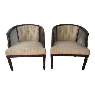 Louis XVI Style Cane Back Club Chairs - A Pair