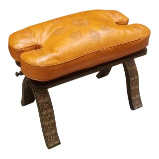 Moroccan Camel Saddles Leather Faded Orange Cushion Wooden Base Stool For Sale