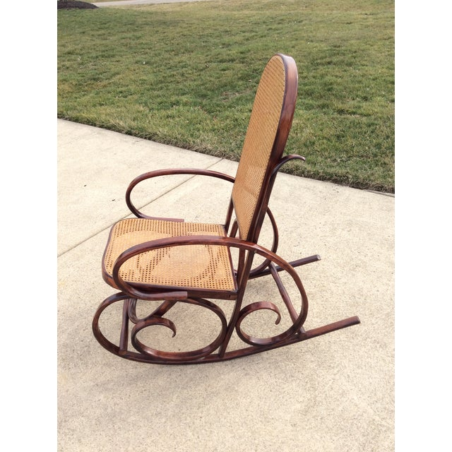 Brown Mid Century Luigi Crassevig Thonet Style Bentwood Rocker For Sale - Image 8 of 12