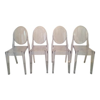Contemporary Acrylic Stacking Chairs - Set of 4