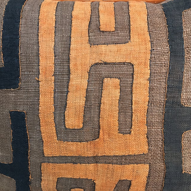 African Kuba Cloth Pillows - A Pair - Image 3 of 5