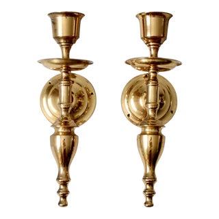 Antique Brass Candle Sconces - a Pair For Sale