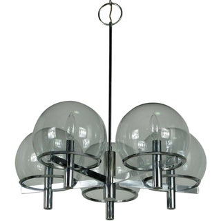 Gaetano Sciolari Chrome & Smoked Glass Five-Arm Chandelier For Sale