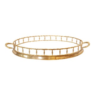 Vintage Faux Bamboo Brass Tray
