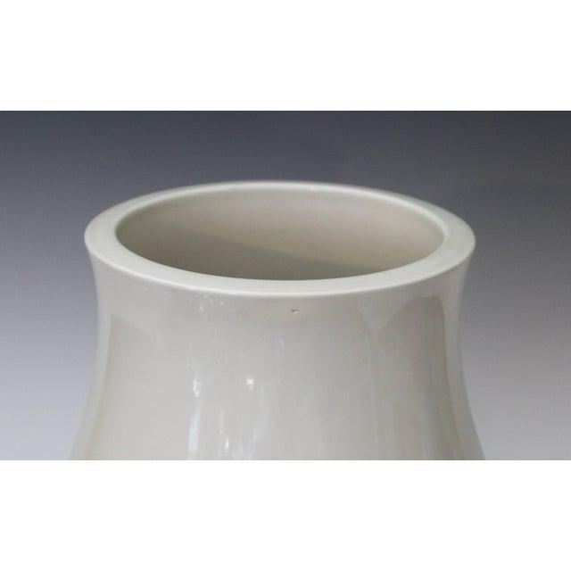 Antique Japanese Carved Studio Blanc De Chine Porcelain Vase For Sale - Image 9 of 11