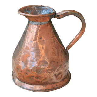 19th Century Antique French Copper Flagon Jug Vessel Pitcher For Sale