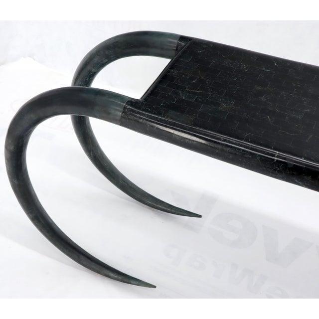 Tessellated Stone Veneer Tile Console Sofa Table on Tusk Shape Legs For Sale - Image 11 of 13
