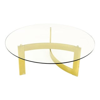 Mid Century Modern Brass and Glass Coffee Table For Sale