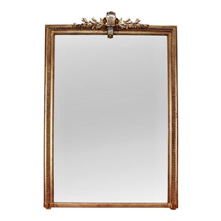 Large Gilt Wood Louis Philippe Wall Mirror With Silver Leaf Gilt Crown